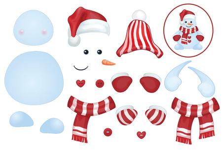 Vector sneeuwpop sjabloon, maak eigen sneeuwpop