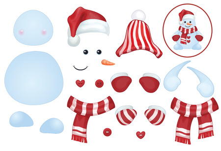 Vector snowman template, make own snowman  Illustration
