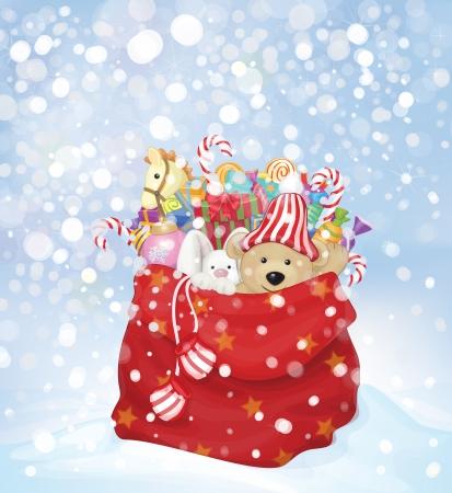osos navideños: Vector bolsa de Santa Claus lleno de juguetes y regalos en el fondo de las nevadas.