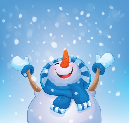 winter wonderland: Vector happy snowman and snowfall   Illustration