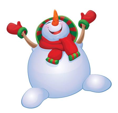 Vector happy snowman isolated.  Illustration