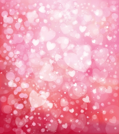 Vector glitter pink background with hearts