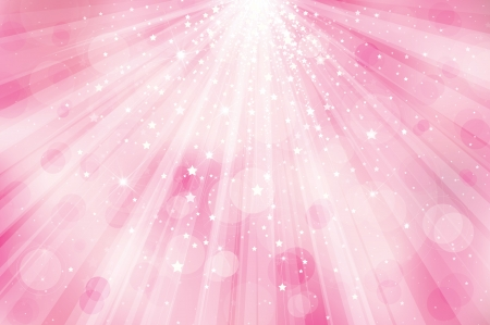 background lights: Vector glitter pink  background with rays of lights and stars