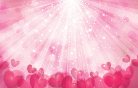 Vector pink background with lights, rays and  hearts  Vector