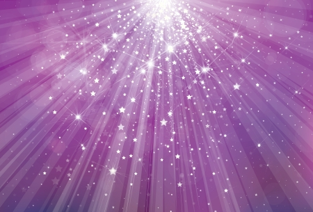 Vector glitter violet background with rays of lights and stars