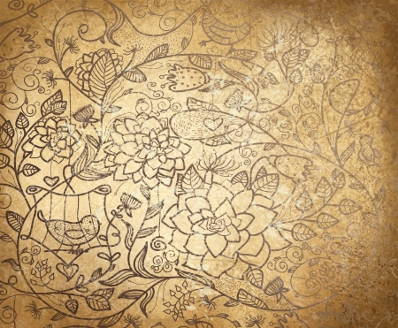 flower age: Vector abstract floral pattern on old paper background