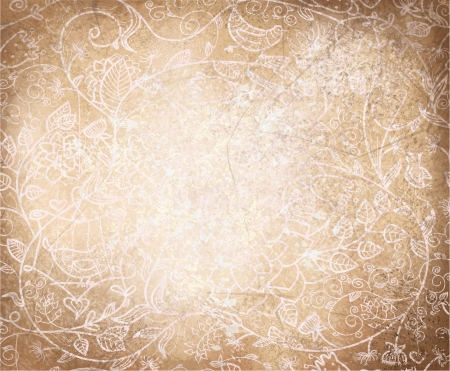 old paper background: Vector abstract floral pattern on old paper background