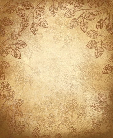 old paper background: Vector leaves pattern on old paper background