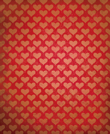 Vector red grunge background with heart pattern