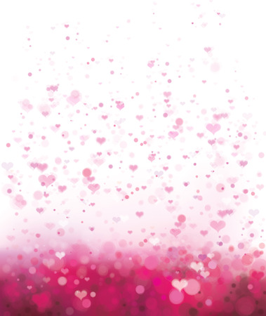 Vector pink background with hearts for Valentines day design. Ilustração