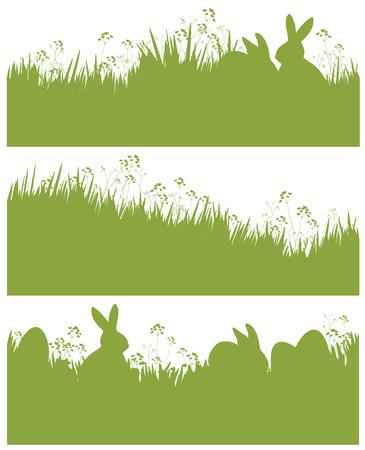 lapin silhouette: printemps silhouette de Pâques, des lapins et des oeufs dans l'herbe