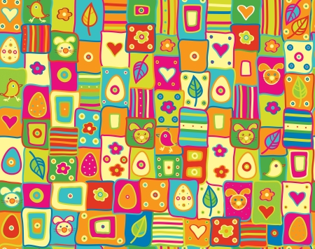 cute seamless pattern, happy Easter. Vector