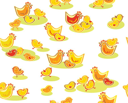 cute seamless chickens pattern  Vector