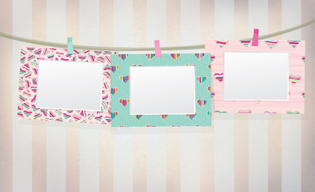 colorful  empty photo frames on vintage   Vector