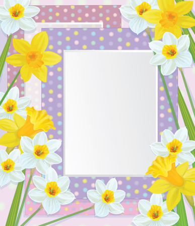 Vector empty photo frames with daffodils  Vector