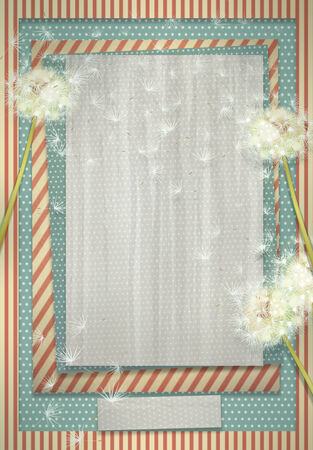 Retro background with dandelion flowers for design  photo
