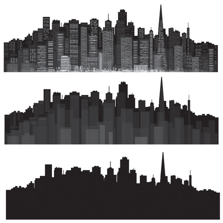 city skyline night: Vector cities silhouettes
