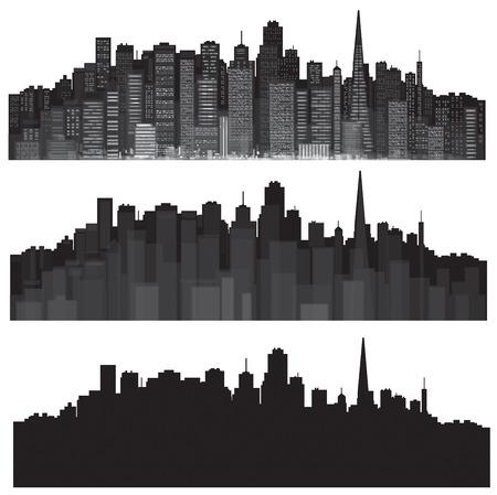 Vector steden silhouetten