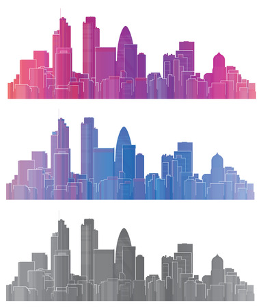 city skyline night: Vector colorful London city
