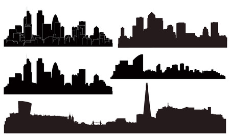city skyline night: Vector London city silhouettes