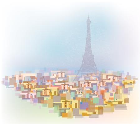 midtown: Vector colorful  Paris cityscape