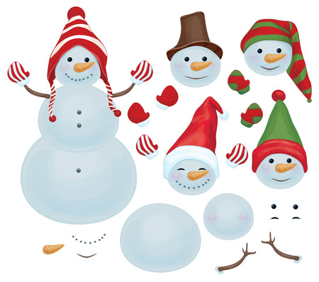 carrot nose: Vector snowman template, make own snowman,  snowman can change faces