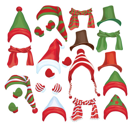 christmas hat: Vector set of hats, scarfs and gloves for design isolated  Illustration