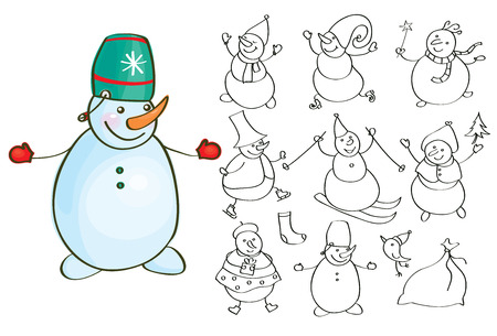 staying in shape: Vector snowman cartoons silhouettes