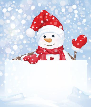 Vector snowman hiding by blank on snowfall background