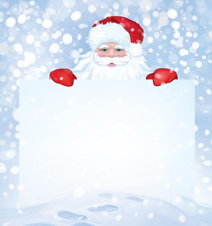Vector Santa Claus  hiding by blank on snowfall background  Çizim