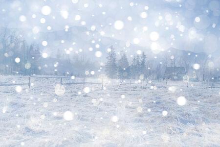 outdoor lights: Winter landscape  Stock Photo