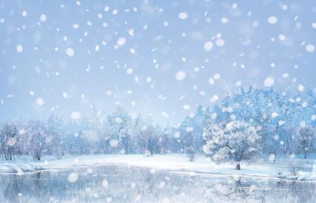 snow field: Vector winter landscape.