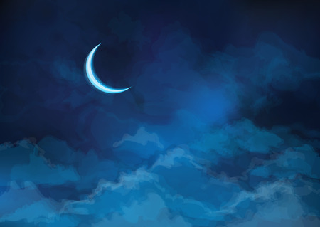 sky background: Vector  night sky background with moon. Illustration