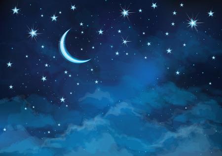 cielo estrellado: Vector cielo nocturno fondo de estrellas y la luna.