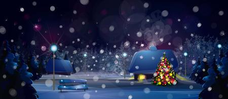 Vector night paesaggio invernale con le case e l'albero di Natale. Archivio Fotografico - 28416560