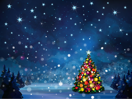 Vector winter scene with Christmas tree  Illustration