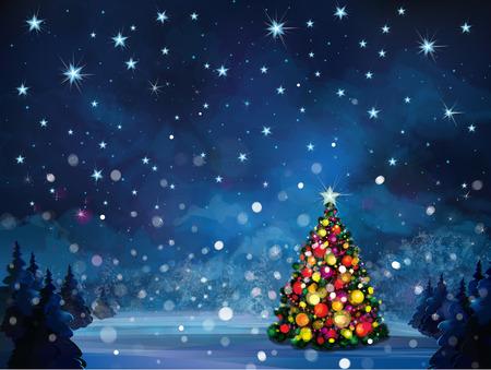 blue christmas lights: Vector winter scene with Christmas tree  Illustration