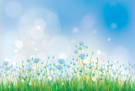 Vector nature background with  blue flowers