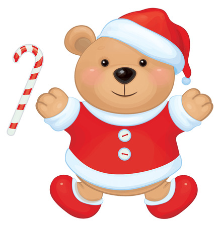 Vector cute brown bear in red Santa Vector