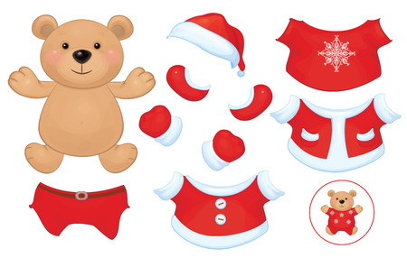 Vector cute  bear toy with  set of Santa Claus costume clothes  Vector