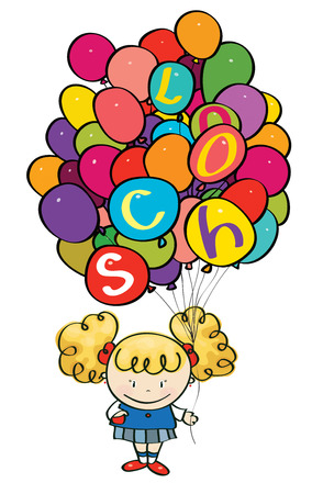 Vector little girl holding many colorfull balloons with school letters  Vector