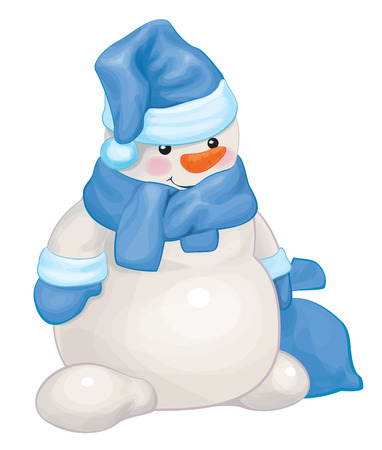 Vector snowman in blue costume with sack