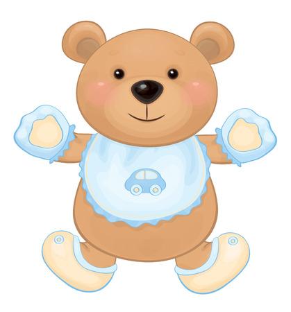 babero: Aislado Vector lindo bebé oso del muchacho.