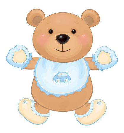 Vector cute baby bear boy isolated. Vector