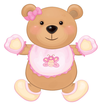 Vector cute baby bear girl isolated. Vector