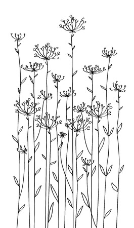 Vector flowers silhouettes. Çizim