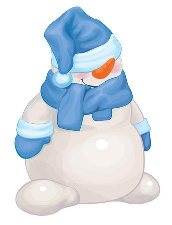 funny snowman cartoon   Vector