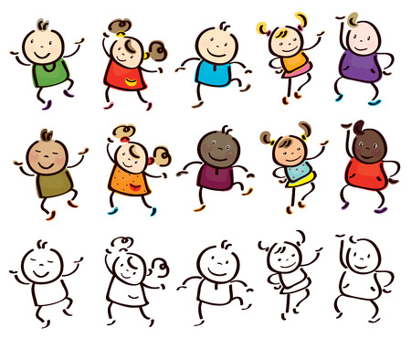 Vector fun, dancing  kids cartoons isolated. Vector