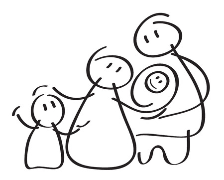 baby drawing: Vector happy family icon. Illustration