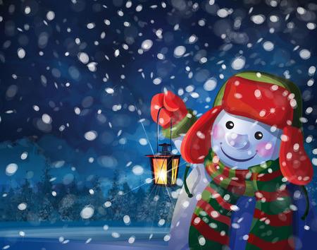 winter wonderland: snowman holding  lantern on snowfall background